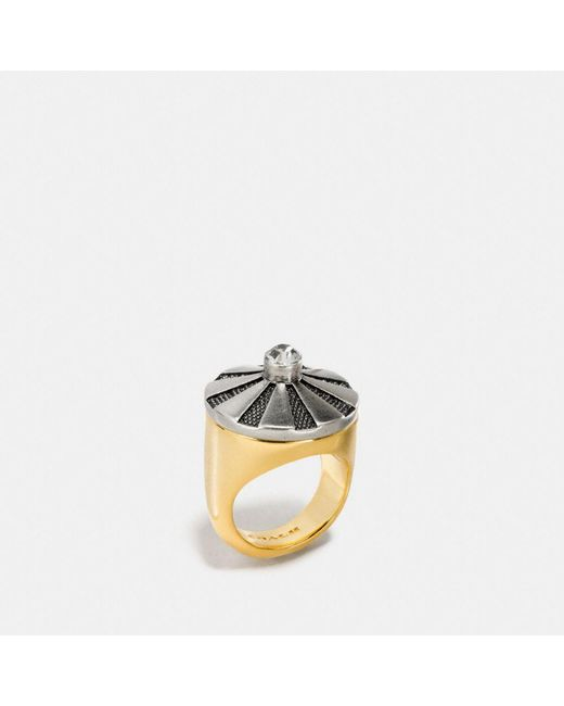COACH - Metallic Large Daisy Rivet Cocktail Ring - Lyst