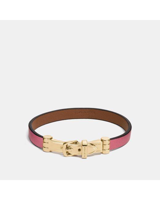 COACH - Brown Two Tone Buckle Bracelet - Lyst