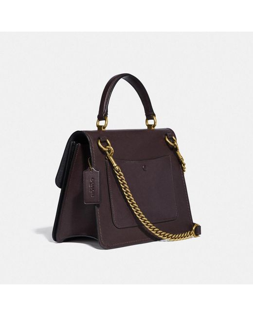 b4cac36194e3 ... COACH - Black Parker Top Handle With Tea Rose Stones - Lyst ...