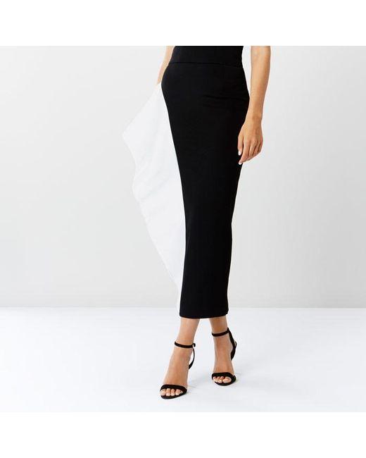 coast mono frill pencil skirt in black lyst