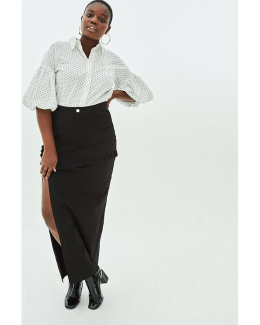 2175fa15a2 Elvi - Black Orchid Structured Pencil Midaxi Skirt With Mini Frill - Lyst  ...