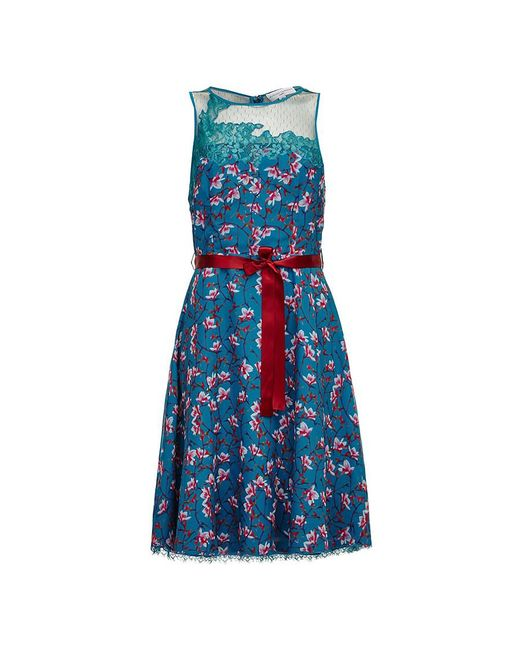 Almost Famous - Blue Painted Floral Chiffon Dress - Lyst