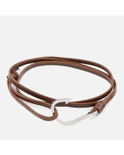 Miansai Metallic Men S Leather Silver Hook Bracelet For