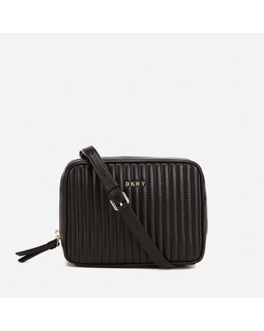 DKNY | Black Women's Gansevoort Pinstripe Quilted Square Crossbody Bag | Lyst