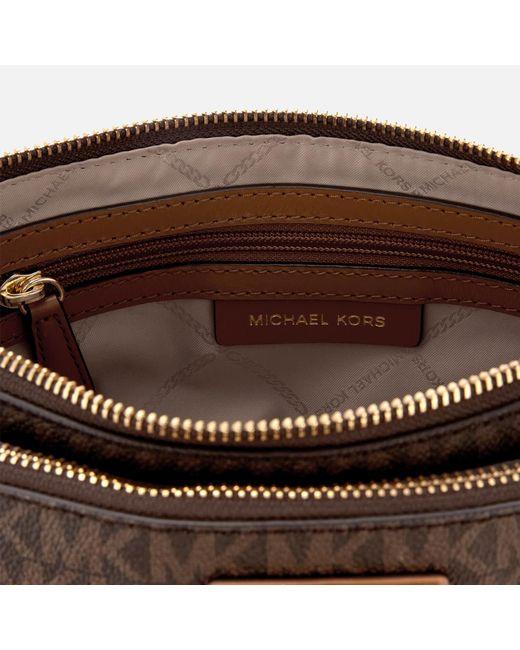 f796cbbfc3fa Lyst - Michael Kors Adele Logo Crossbody in Brown - Save 9%