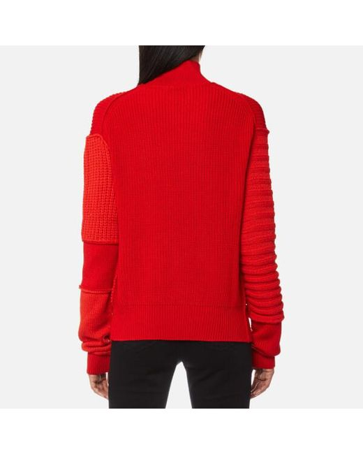 Mcq Alexander Mcqueen Women s Cable Mix Crop Jumper in Red - Save ... a7f82e08a