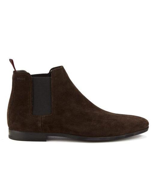 HUGO | Brown Men's Pariss Suede Chelsea Boots for Men | Lyst