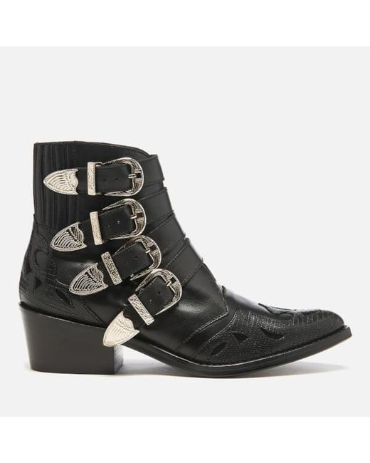 toga pulla s buckle side mix leather heeled ankle