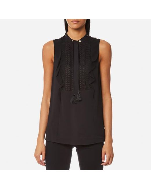 MICHAEL Michael Kors | Black Women's Tank Lace Bib Top With Tie | Lyst