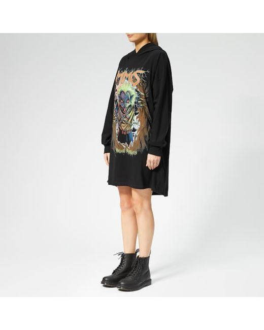 e92ca2e1cf9 ... Lyst MM6 by Maison Martin Margiela - Black Women's Oversized Hooded  Printed Dress ...