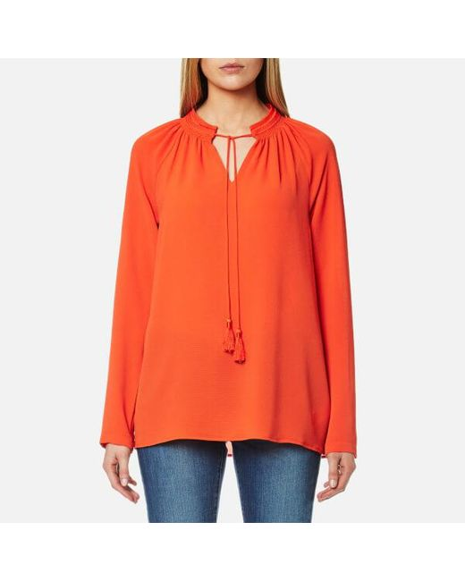 MICHAEL Michael Kors - Orange Women's Embroidered Long Sleeve Top - Lyst