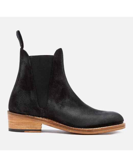 GRENSON - Black Women's Nora Burnished Suede Chelsea Boots - Lyst