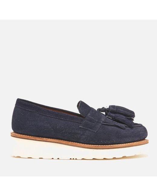 GRENSON   Blue Women's Clara Suede Tassle Loafers   Lyst