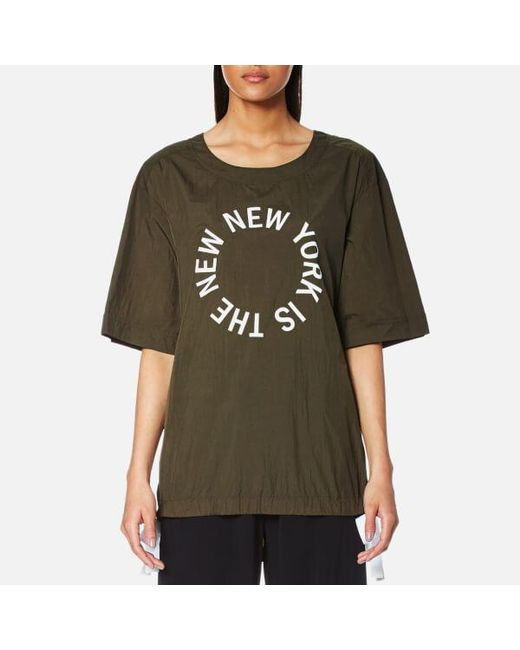 DKNY - Green Women's Short Sleeve Logo Shirt With Side Slits And Drawcords - Lyst