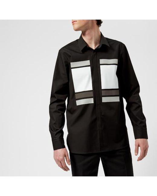 Neil Barrett - Black Men's Cube And Tape Chest Logo Long Sleeve Shirt for Men - Lyst