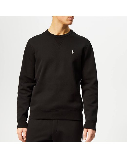 721d464e52ea Polo Ralph Lauren - Black Double Knit Tech Sweatshirt for Men - Lyst ...