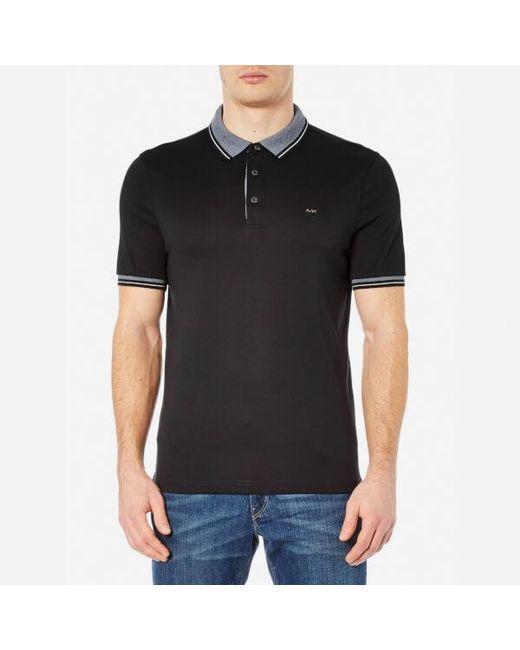 Michael Kors | Black Men's Greenwich Collar Polo Shirt for Men | Lyst