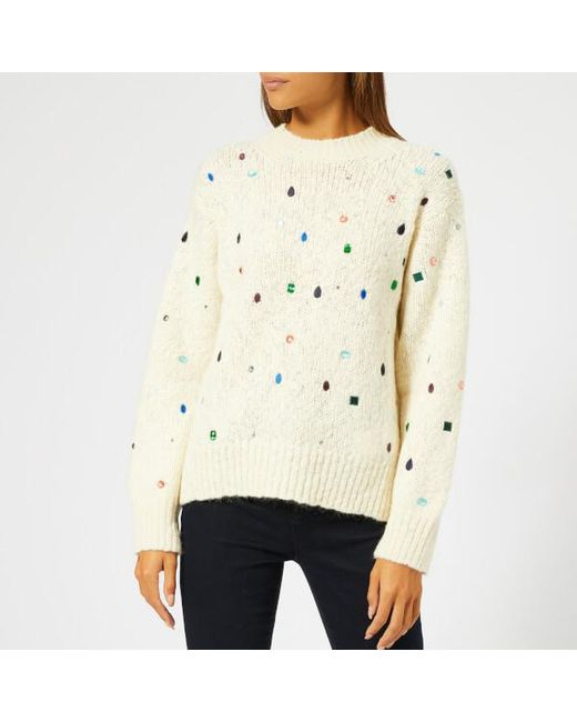 KENZO Women s Embroidered Knit Jumper With Gems in White - Save 57 ... ee796e23e