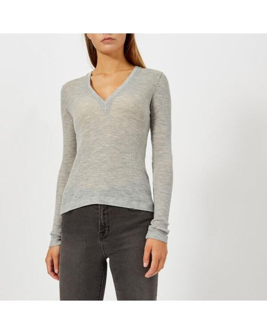 T By Alexander Wang - Gray Women's Sheer Wooly Rib Deep Vneck Long Sleeve Top - Lyst