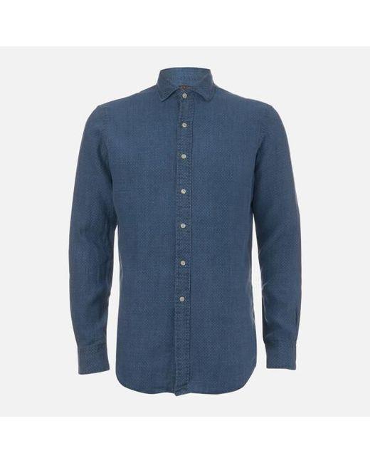 30422dde8e02 ... cheap polo ralph lauren blue mens linen spead estate shirt for men lyst  64cb9 d4a69