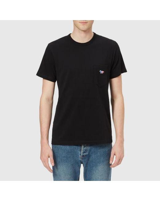 Maison Kitsuné - Black Men's Tricolor Fox Pocket Tshirt for Men - Lyst