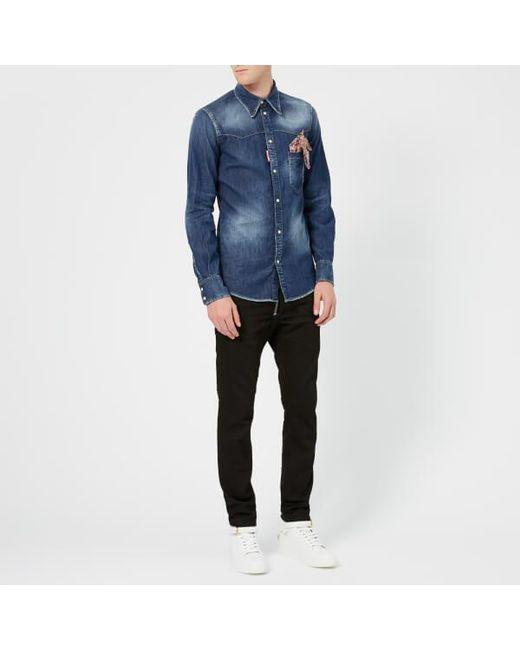 446ee188e6e ... Lyst DSquared² - Blue Men s Stretch Denim Fashion Western Shirt for Men  ...