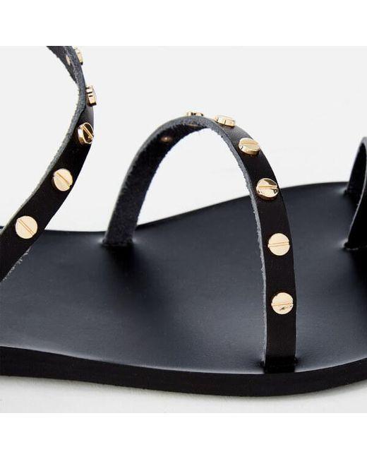 Black Apli Eleftheria Nails Sandals Ancient Greek Sandals EKnYq