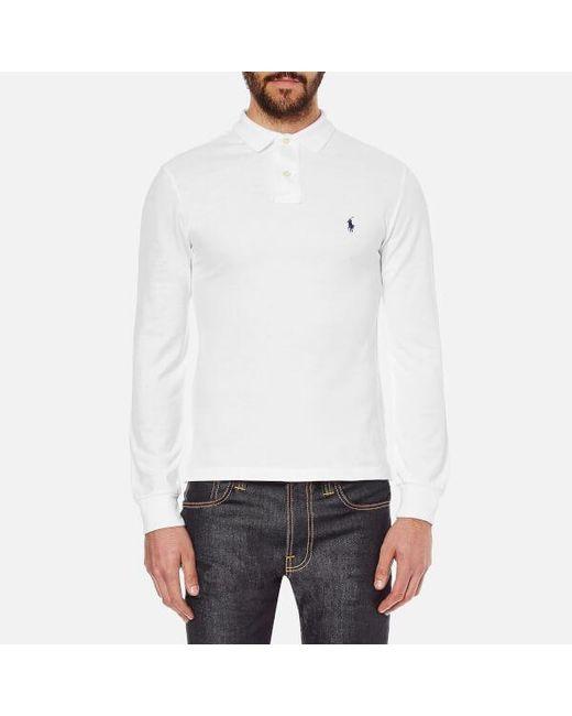 Polo Ralph Lauren - White Men's Slim Fit Long Sleeved Polo Shirt for Men - Lyst