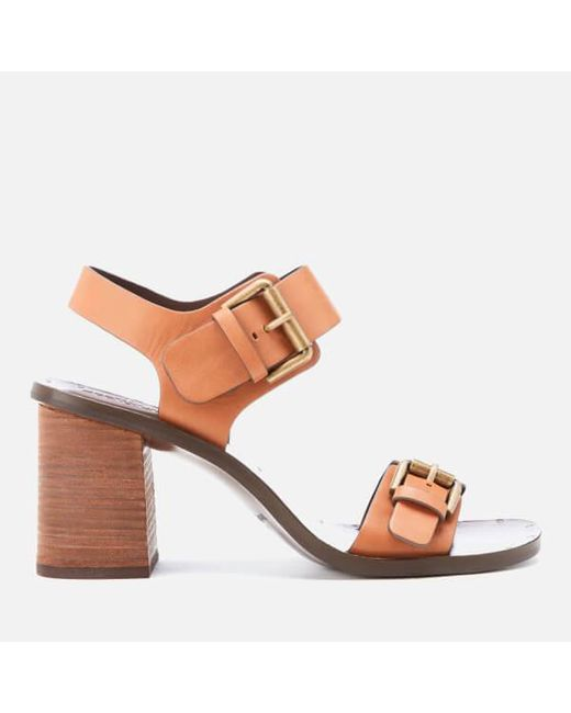 See By Chloé | Brown Women's Buckle Leather Heeled Sandals | Lyst