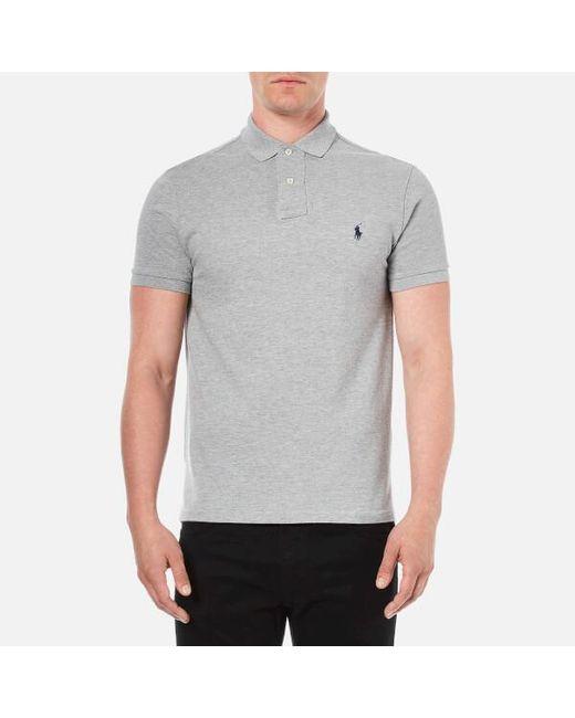 Polo Ralph Lauren - Gray Men's Custom Fit Short Sleeved Polo Shirt for Men - Lyst