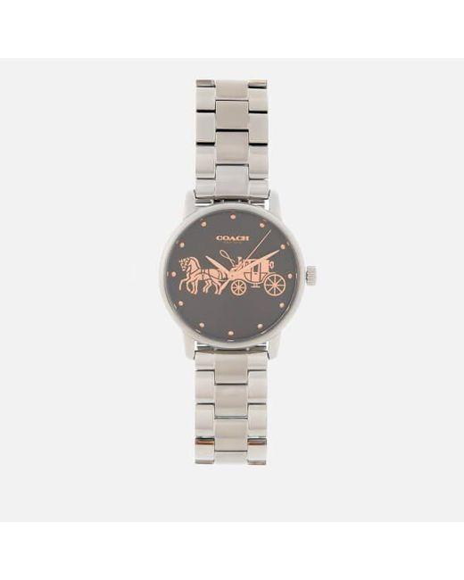 COACH - Gray Women's Grand Classic Logo Watch - Lyst