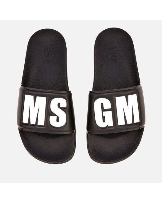 MSGM - Black Women's Logo Slide Sandals - Lyst