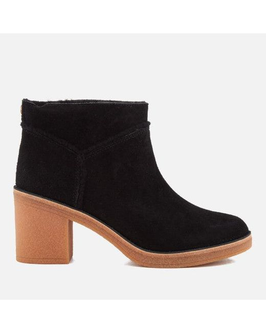 Ugg - Black Women's Kasen Suede Heeled Ankle Boots ...