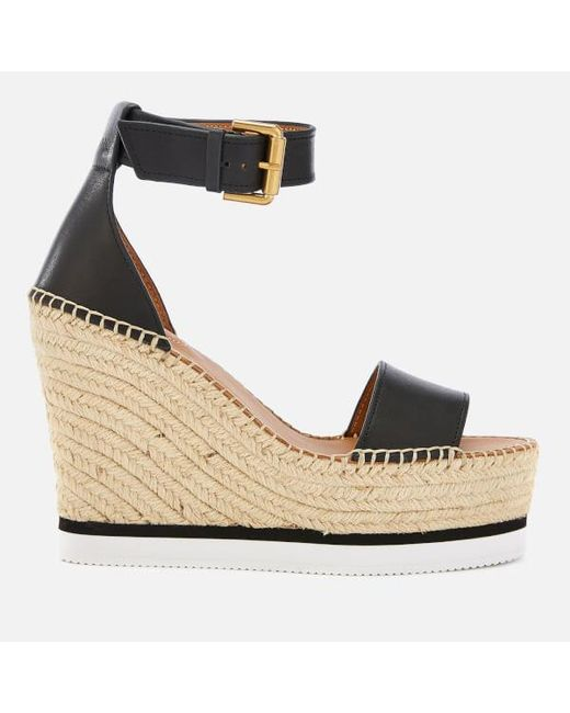 3b81a4283 See By Chloé - Black Women's Leather Espadrille Wedge Sandals - Lyst ...