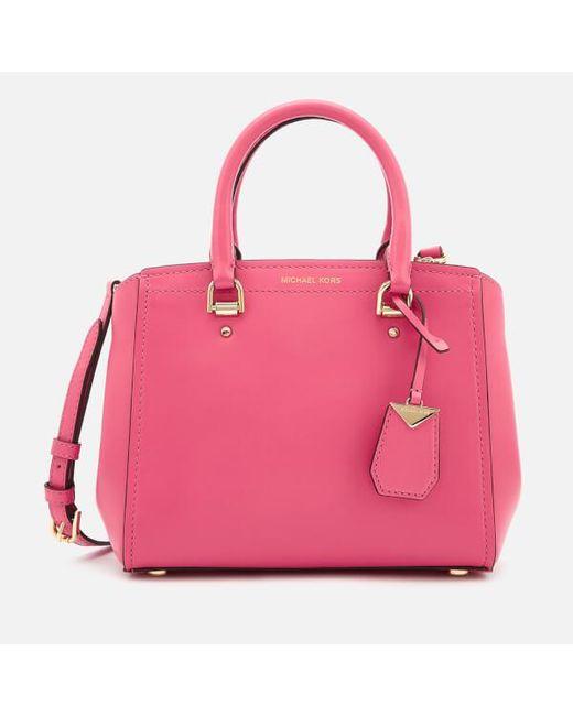 b9e80a562aa9 MICHAEL Michael Kors Women s Benning Medium Messenger in Pink - Lyst