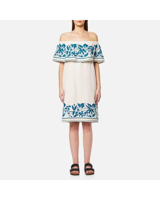 Maison Scotch   White Women's Boho Off The Shoulder Dress With Embroidery   Lyst