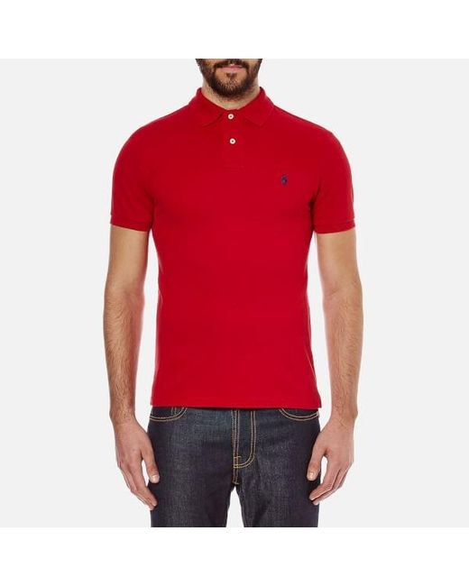 Polo Ralph Lauren - Red Men's Slim Fit Short Sleeved Polo Shirt for Men - Lyst