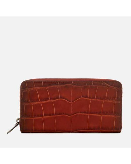 COACH - Red Women's Accordion Croc Wallet - Lyst