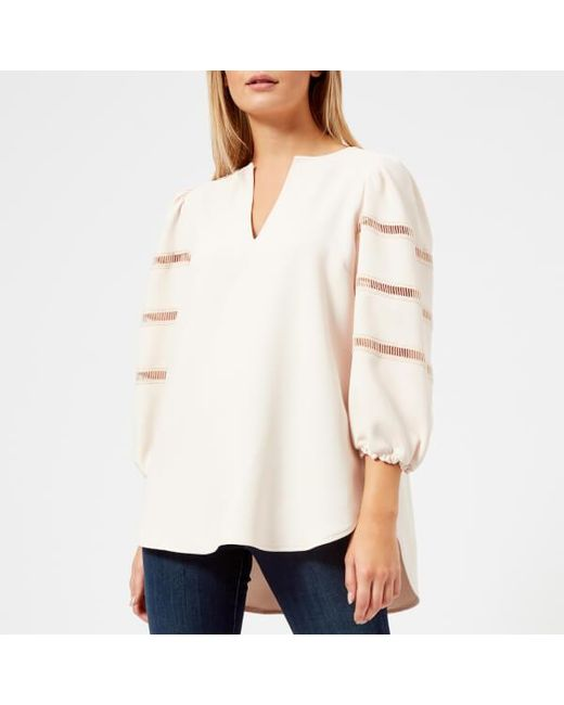 See By Chloé - Natural See By Chloe Women's Ruffle Sleeve Vneck Blouse - Lyst