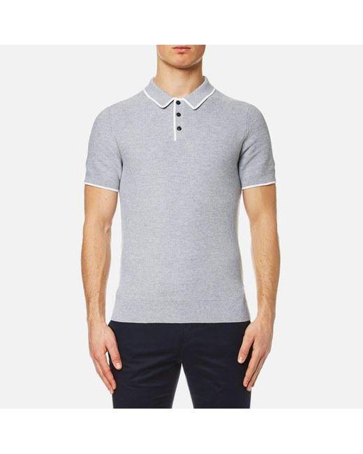 Michael Kors | Gray Men's Tuck Stitch Tip Polo Shirt for Men | Lyst
