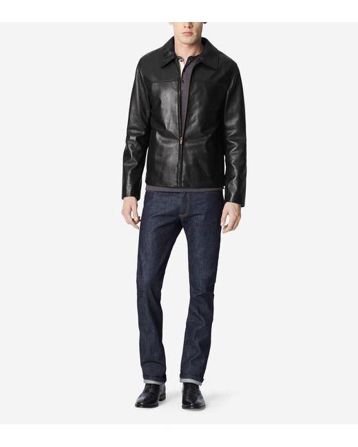 Cole Haan | Black Smooth Lamb Shirt Collar Moto Jacket for Men | Lyst