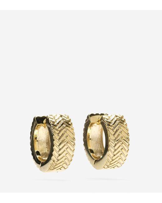 Cole Haan | Metallic Basket Weave Huggy Earrings | Lyst