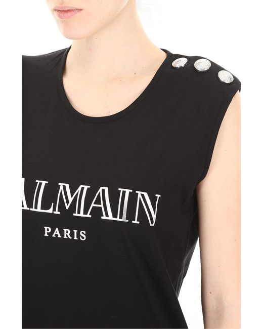 68055066 Lyst - Balmain 3 Button Logo Top in Black - Save 10%