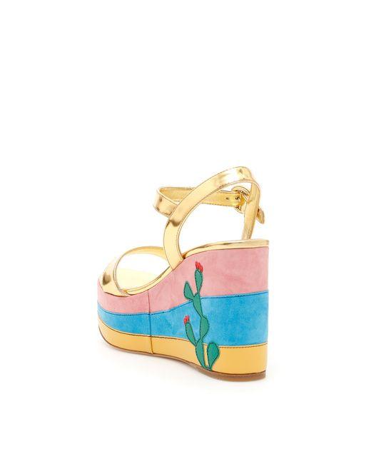 e691b84185e Lyst - Prada Mirror Calfskin Mexico Sandals in Blue - Save ...