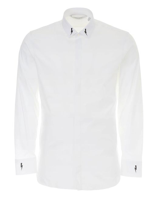 Neil Barrett - White Printed Cotton Shirt for Men - Lyst