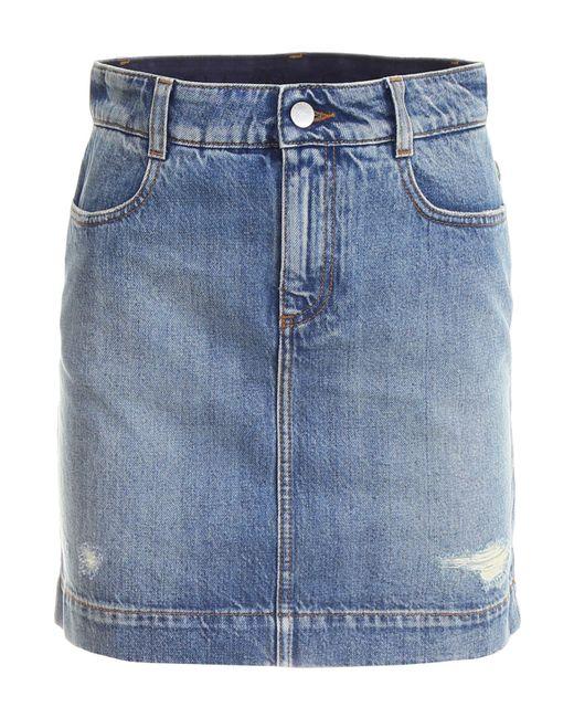 Stella McCartney - Blue Distressed Denim Miniskirt - Lyst
