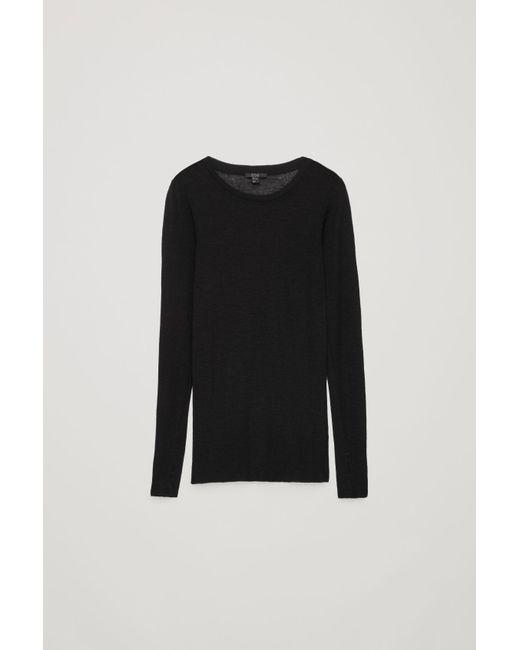 ee39167c426c3 Lyst - COS Sheer Wool Long-sleeved Top in Black