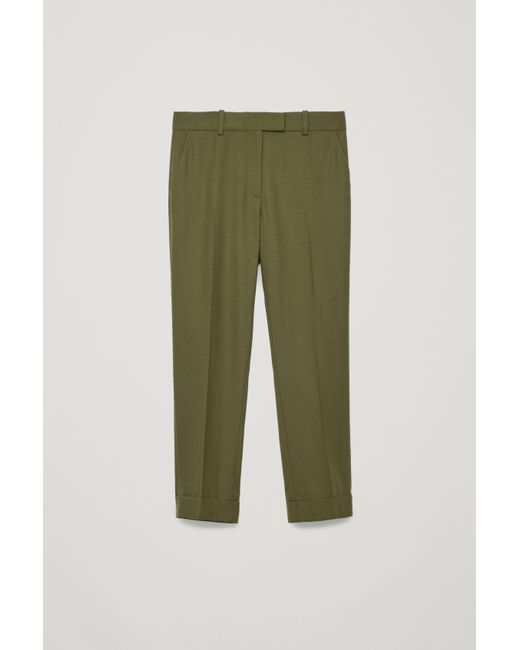 9f4a5080a670b Lyst - COS Wool Press-fold Trousers in Green