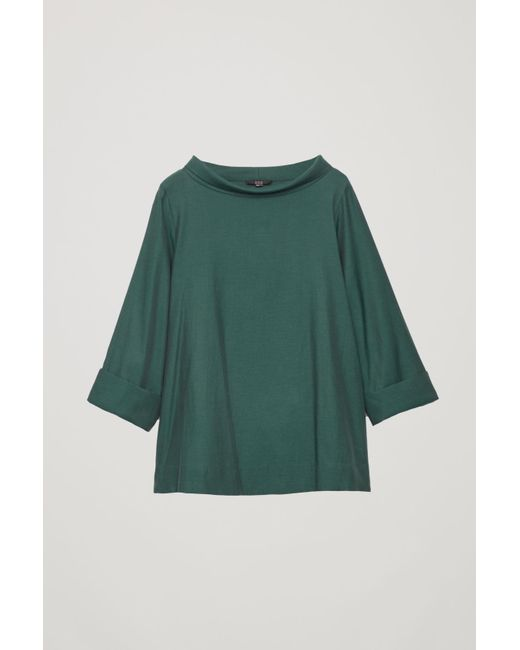 620d8e460c0f COS Folded-collar Draped Blouse in Green - Lyst