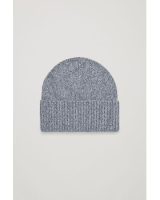 COS - Blue Cashmere Hat With Ribbed Edge - Lyst